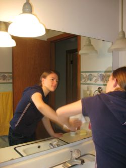 household chores checklist, cleaning mirror